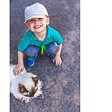 Junge, Katze, Streicheln