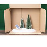 Snow, Christmas Tree, Deck Chair
