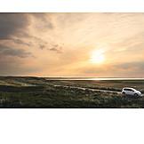 Sunset, Car, Sylt