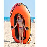 Kinder, Schlauchboot, Badeurlaub, Strandurlaub