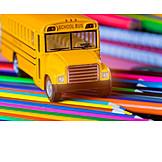 Pens, School, School Bus