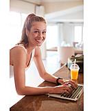 Woman, Home, Laptop