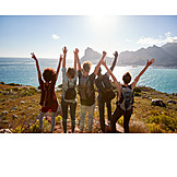 Friends, Cheering, Hiking Vacation
