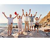 Seniors, Cheering, Beach Holiday