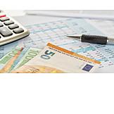 Finanzen, Bilanz, Euroschein, Abrechnung