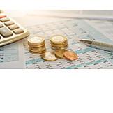 Finanzen, Bilanz, Bargeld, Euromünze