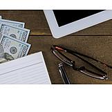 Büro, Schreibtisch, Bargeld