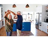 Glücklich, Tanzen, Seniorenpaar