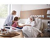 Großmutter, Glücklich, Krankenhaus, Besuch