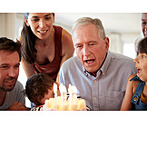 Grandfather, Birthday, Blow Out, Birthday Cake