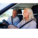 Happy, Car Trip, Older Couple