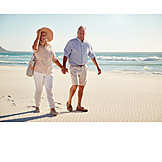 Strand, Spaziergang, Gemeinsam, Seniorenpaar