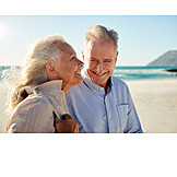 Happy, Beach Holiday, Older Couple