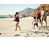 Strand, Spaziergang, Familie, Sommerurlaub