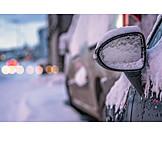 Winter, Snowy, Rearview Mirror