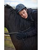Boy, Embracing, Horses