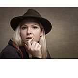 Woman, Hat, Thinking