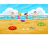 Children, Jumping, Beach Holiday