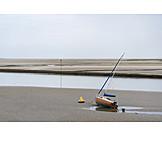Strand, Segelboot