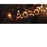 Neujahr, Wunderkerze, 2020