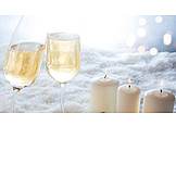 Snow, Champagne Glass, Candlelight