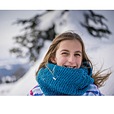 Girl, Snow, Portrait