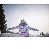 Girl, Snow, Arms Outstretched