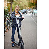 Woman, Smart Phone, E-scooter