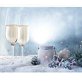 Christmas, Christmas Decoration, Champagne Glasses