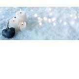 Snow, Candles, Heart Pendant