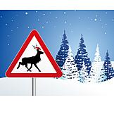 Christmas, Warning Sign, Reindeer