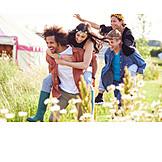 Carefree, Festival, Friends, Piggyback