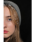 Young Woman, Serious, Snow