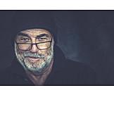 Man, Cap, Glasses, Facial Hair
