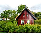 Wohnhaus, Holzhaus, Strohdach