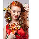 Woman, Red Hair, Flower Arrangement