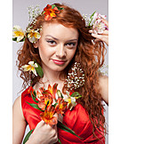 Woman, Red Hair, Flower Arrangement