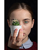 Woman, Serious, Cactus, Unapproachable