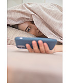 Young Woman, Mobile, Online, Insomnia