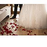 Wedding, Rose Petals, Wedding Couple