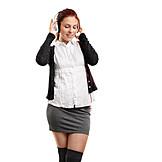 Woman, Sexy, Mini Skirt, Listening Music