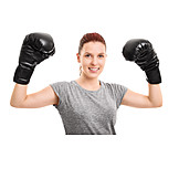 Woman, Combat Ready, Boxing Gloves