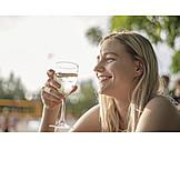 Woman, Drinking, Summer, White Wine