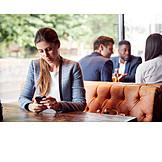 Woman, Bar Counter, Online, Smart Phone