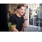 Man, Smiling, Cafe, On The Phone