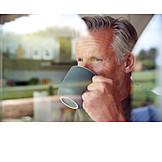 Man, Drinking, Coffee, Window