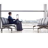 Businessman, Airport, Waiting