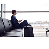 Businessman, Business, Airport, Waiting