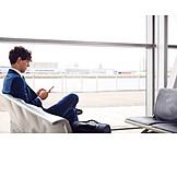 Businessman, Airport, Smart Phone