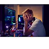 Teenager, Pc, übermüdet, Programmieren